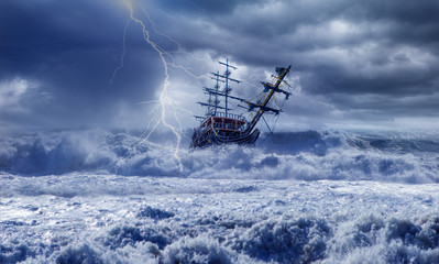 Poster Ship Sailing ship in storm sea on the background power sea wave with lightning