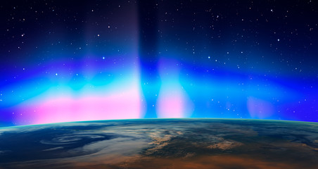 Fotomurales - Northern lights aurora borealis over planet Earth