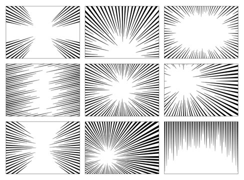 Set of black and white, gray radial lines comics style background. Manga action, speed abstract. Vector illustration. Isolated on white background