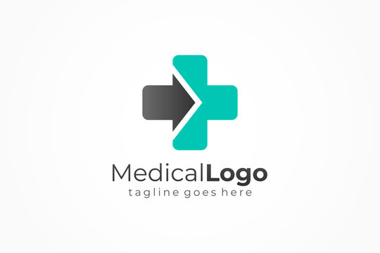 Cross Sign with Arrow Icon Medical Logo Health Symbol. Flat Vector Logo Design Template Element
