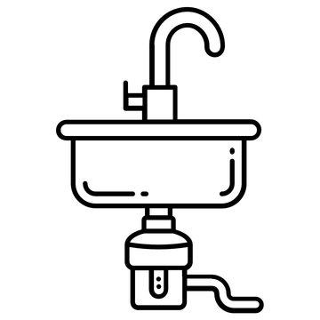 Garbadge Disposal Vector Icon Design, House bathroom equipment Concept, Sink on White background
