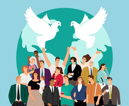 World peace day. Multicultural crowd people. Happy international friends, friendship and humanity. Multiethnic society vector illustration