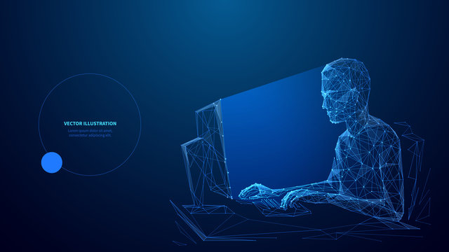 Computer technology low poly wireframe banner vector template. Software development, freelance poster polygonal design with text space. A person working with desktop PC 3d mesh art with connected dots