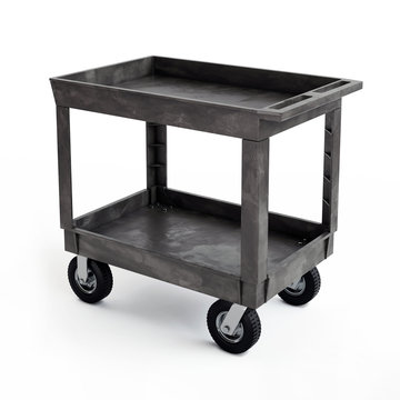 Plastic Two Shelf Utility Cart Model, 3D illustration