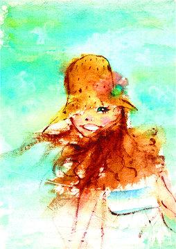 夏の海を背景に帽子をかぶった笑顔の女の子