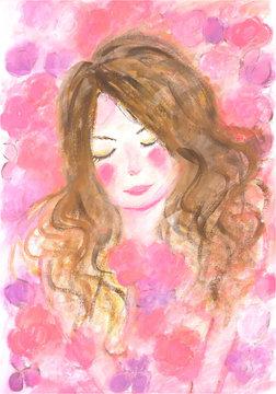 ピンクの花に囲まれた幸せな女の子