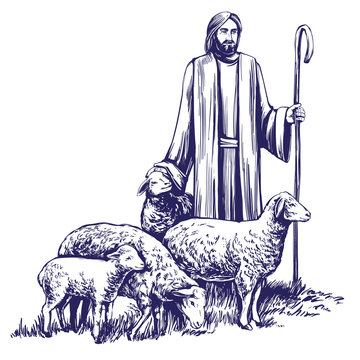 Son of God, the Lord is my shepherd, Jesus Christ with a flock of sheep, symbol of Christianity hand drawn vector illustration sketch