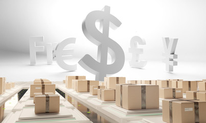 Currencies USD EUR YEN Pounds in front of packages for delivery 3d-illustration
