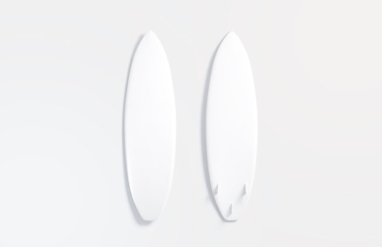 Blank white wood surfboard mockup, front and back, gray background