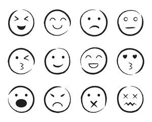 Set of happy face hand drawn style. Sketch smiley, sad, angry face doodle icon. Emoji emoticon for social media. Cartoon people faces on isolated background. Expression emotion. Set line mood. vector.