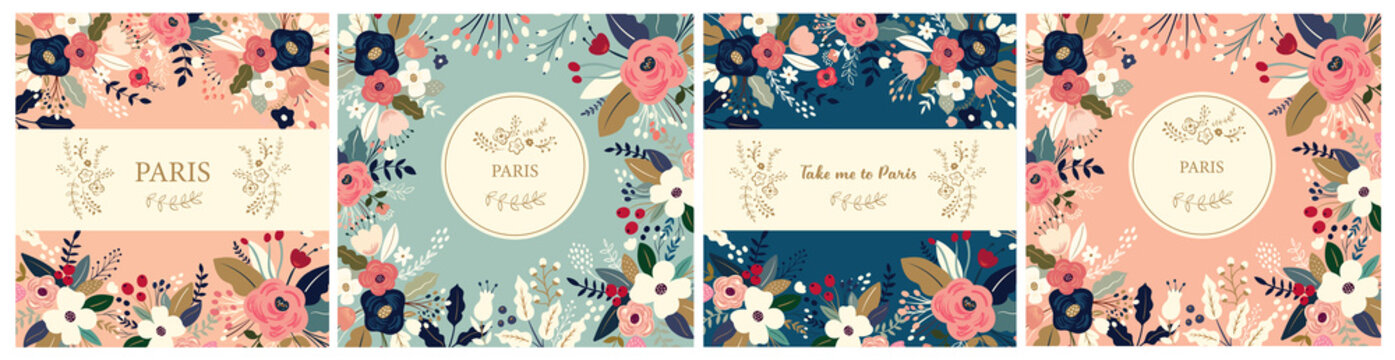 Beautiful collection of floral patterns. Holiday flower patterns for cards, invitations, package design