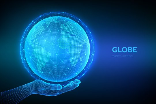 Earth globe illustration. World map point and line composition concept of global network connection. Blue futuristic background with planet Earth in wireframe hand. Vector illustration.