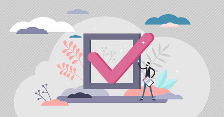 Checkmark approval concept, flat tiny person vector illustration