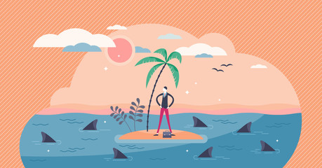 Trapped businessman surrounded by sharks, flat tiny person vector illustration