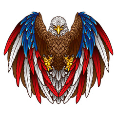 An eagle with an American flag. Graphic, color image of a flying eagle with wings the color of the American flag on a white background. Vector graphics.