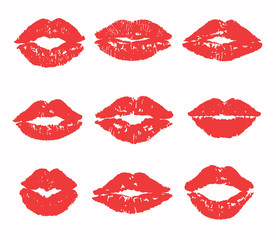 Kiss trace set (red, pink lipstick). Flat lip vector silhouette. Traces of sexy woman kisses isolated on transparent background. Love sign, romantic stamp, imprint, symbol. Female mouth icon, logo.
