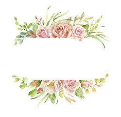 Rose paint, watercolor rose floral illustration, Leaf and buds, Botanic composition layer path, clipping path