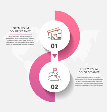 Vector template circle infographics. Business concept with 2 options and parts. Two steps for diagrams, flowchart, timeline