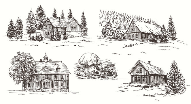 Rural landscape. Hand drawn set