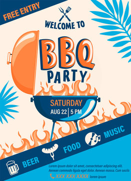 Welcome BBQ party flyer.Summer Barbecue weekend cookout event with beer,food,music.Design template for menu,poster,welcome banner, announcement.Cooking outdoor.Vector illustration.