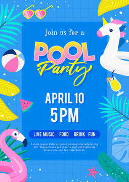 Pool party invitation poster vector illustration. Top view of swimming pool with cute pool floats.