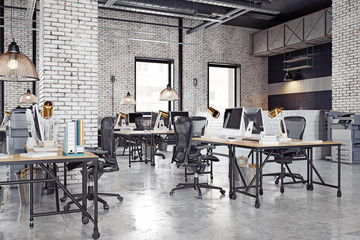 contemporary loft office Fotomurales