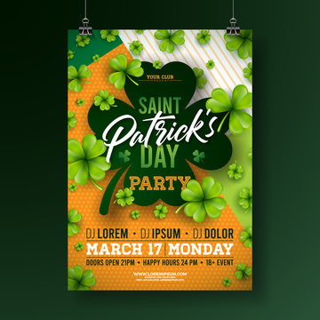 Saint Patricks Day Party Flyer Illustration with Clover and Typography Letter on Abstract Background. Vector Irish Lucky Holiday Design for Celebration Poster, Banner or Invitation.