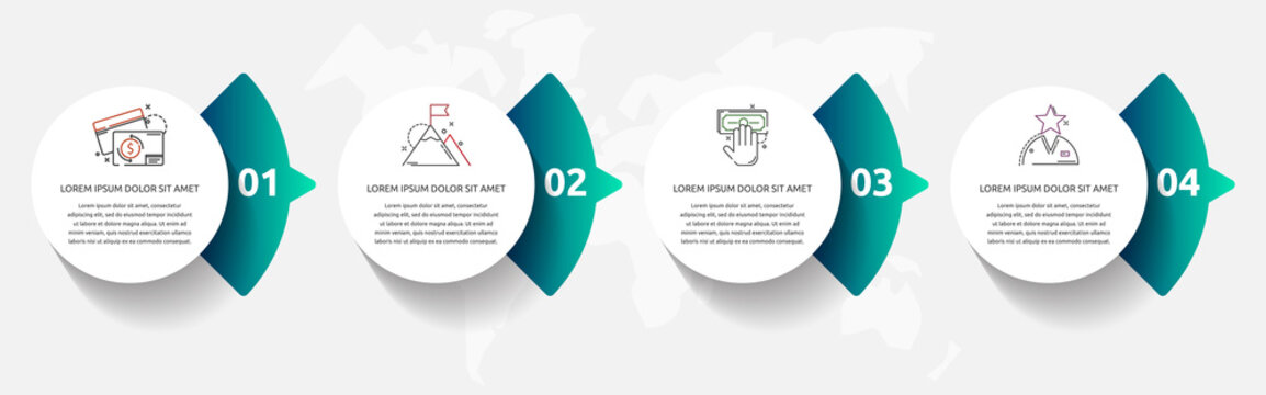 Vector template circle infographics. Business concept with 4 arrows and parts. Four steps for content, flowchart, timeline, levels