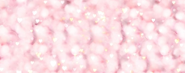 Fototapete - Abstract pastel background with golden hearts - concept Mother's Day, Valentine's Day, Birthday - spring colors