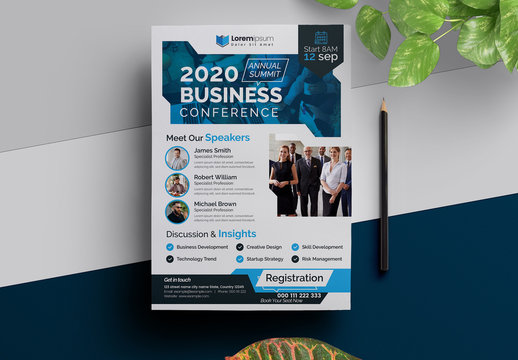 Annual Conference Flyer Layout with Blue Accents