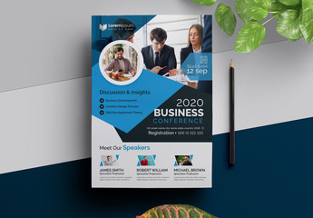 Seminar Event Flyer Layout with Blue Accents