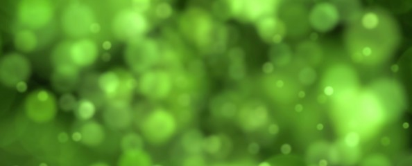 Spring background - abstract banner - green blurred bokeh lights  Wall mural