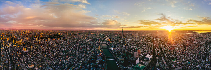 Printed roller blinds Helicopter Aerial shot of Tokyo city, Japan