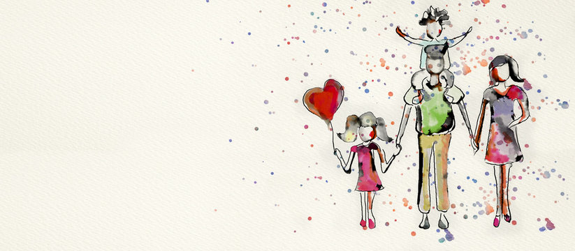 Happy family, Watercolor artistic banner