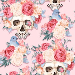 Seamless pattern with human skull and flowers