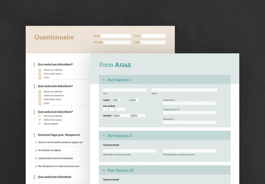 Green and Yellow Questionnaire Forms Layouts