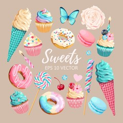 Vector set of ice cream, muffins and macaroons