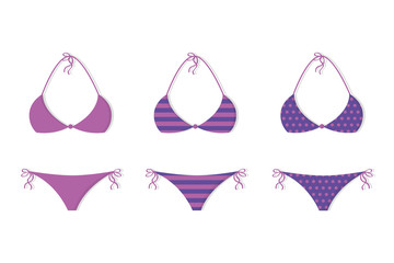set of purple pink bikinis with different patterns vector illustration EPS10