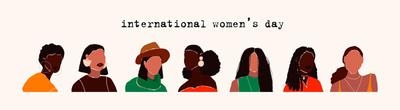 8 march international womens day. Abstract modern young female portraits. Fashion minimal trendy people face different beauty races nationality. Trendy art minimal female heads. Vector illustration