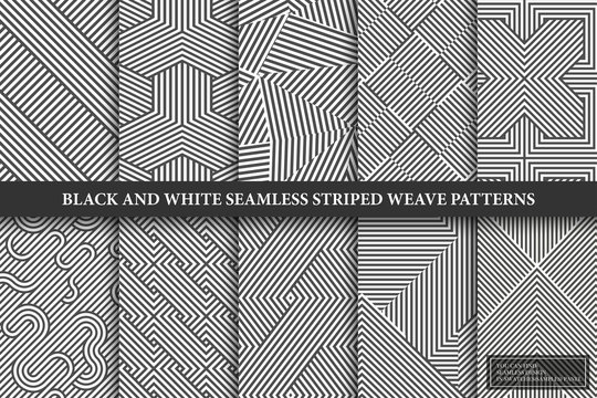Collection of seamless weave geometric patterns. Black and white endless striped textures - creative monochrome backgrounds. You can find repeatable design in swatches panel