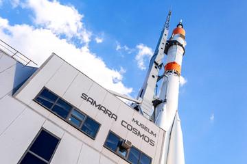 Real Soyuz spacecraft as monument and Samara Cosmos museum