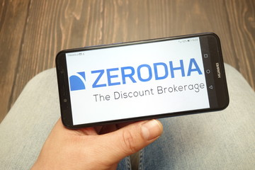 KONSKIE, POLAND - 05 MAY, 2019: Zerodha company logo displayed on smartphone