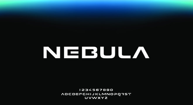Nebula, an abstract sporty technology alphabet font. digital space typography vector illustration design