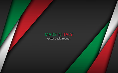Made in Italy, modern vector background with Italian colors and free grey space for your text, overlayed sheets of paper in the look of the Italian flag, abstract widescreen background Fotomurales
