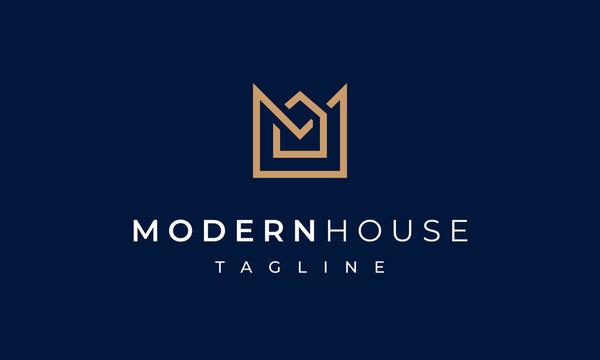 Modern House Letter M Logo for Real Estate