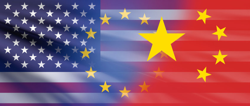 design of USA and Europe and China background 3d-illustration