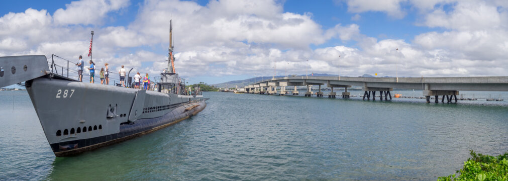 USS Bowfin submarine in Pearl Harbor museum on August 5, 2016 in Oahu. Attack on Pearl Harbor by Empire of Japan in 1941 brought United States into World War II.