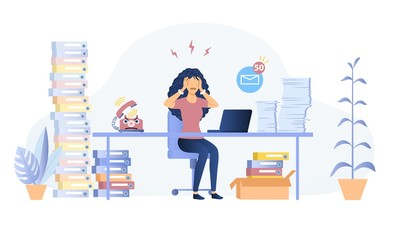 Fototapeta Stressed overworked woman in an office seated at her desk surrounded by heaps of files and books tearing at her hair, vector illustration obraz
