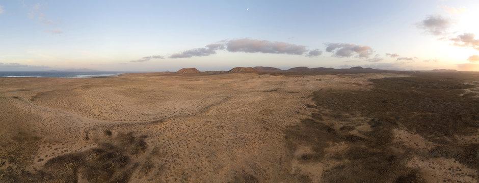 Fuerteventura sand dune desert panoramic aerial view