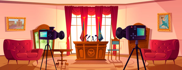 Empty conference room for presidents or government negotiations with tribune, microphones and flags of United States and another country, photo video cameras look on table Cartoon vector illustration